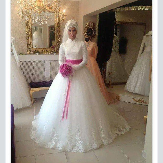 Avec Voilée Col Haut À Manches Longues Robe De Mariage pour les Femmes  Musulmanes 2016 robe