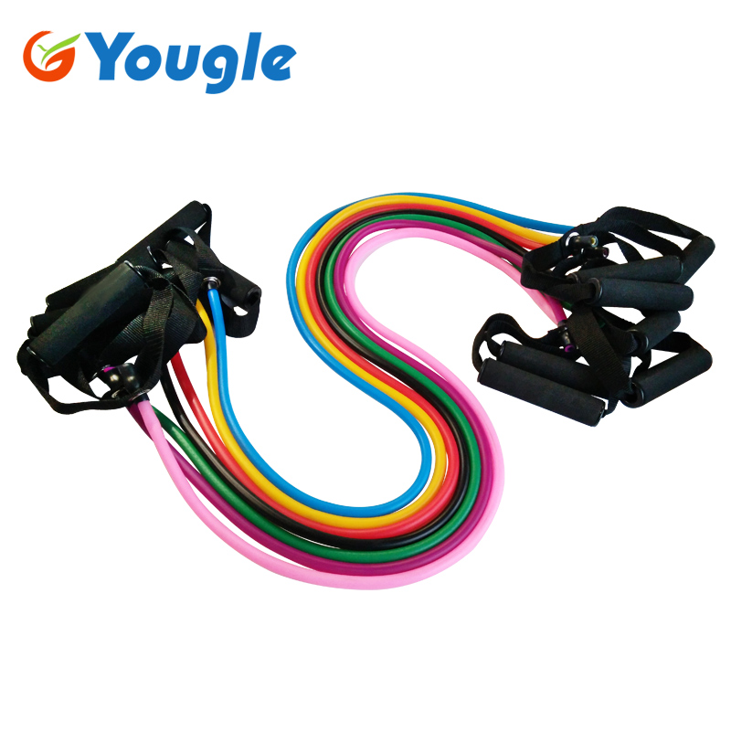 YOUGLE Pilates Latex Tubing Expanders Exercise Tubes Strength Resistance Band Se