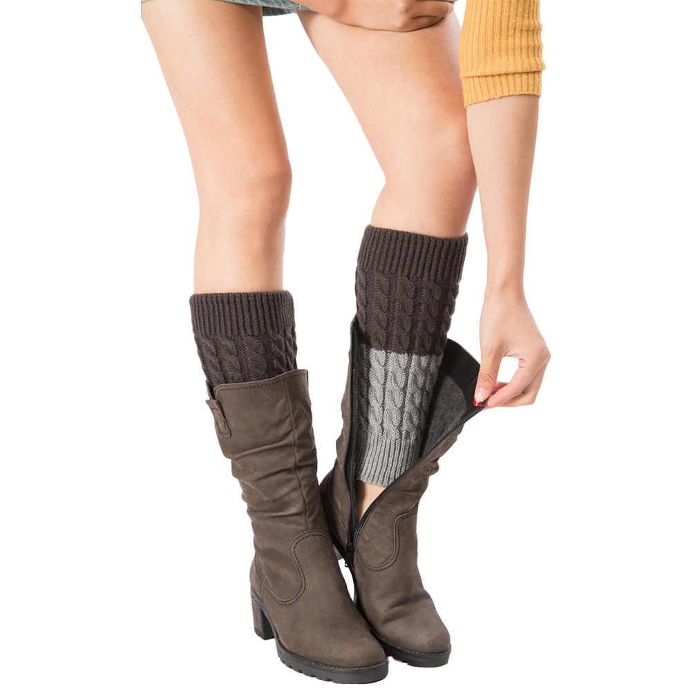 Kadınlar Kış Bacak Isıtıcıları Çift Renkli Kızarmış Hamur Örme Bot Çorap
