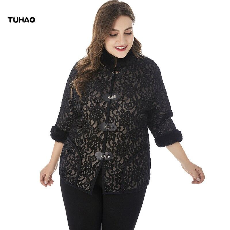 TUHAO 2019 Winter Plus Size 6XL 5XL Jacket for Woman Windbreaker Women Coats Faux Fur Large