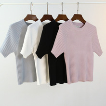 Fashion Ice Silk All Match O Neck Short Sleeve T Shirts Summer New Arrivals Knitting Bottoming Fitness European Style Tops 1610 fashion ice silk all match o neck short sleeve t shirts summer new arrivals knitting bottoming fitness european style tops 1610