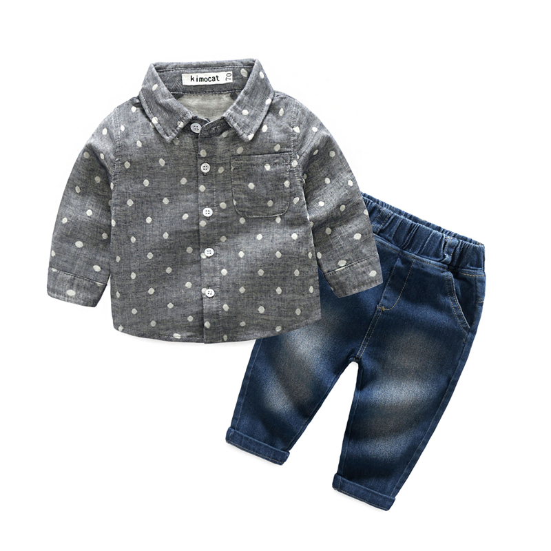 Spring Baby Boy Clothing Sets Polka Dot T-Shirt+Pant 2018 Baby Boy Clothes Gentleman Kids Clothes Cotton Newborn Baby Cloth Sets