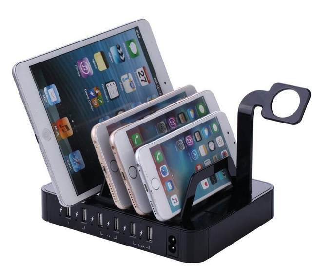 6 Port Usb Charging Station Dock Hub Charger Organizer Black Multiple Mobile Tablet Stand For Iphone 5 7 Iwatch