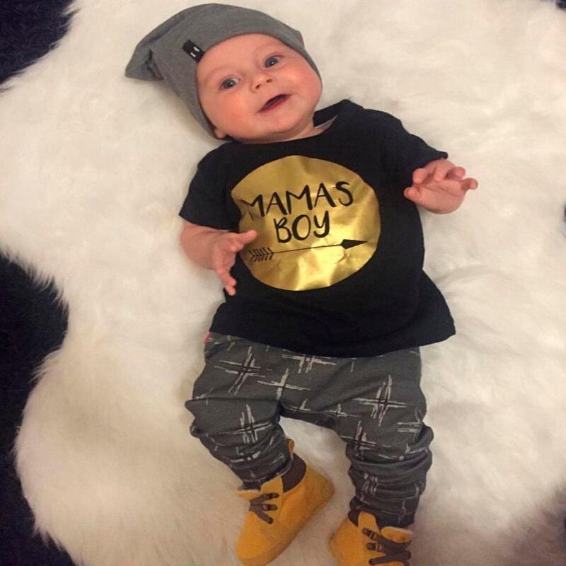 Baby boy clothing sets Newborn Toddler Casual T shirt Pants Outfits set Gold Mamas boy printed
