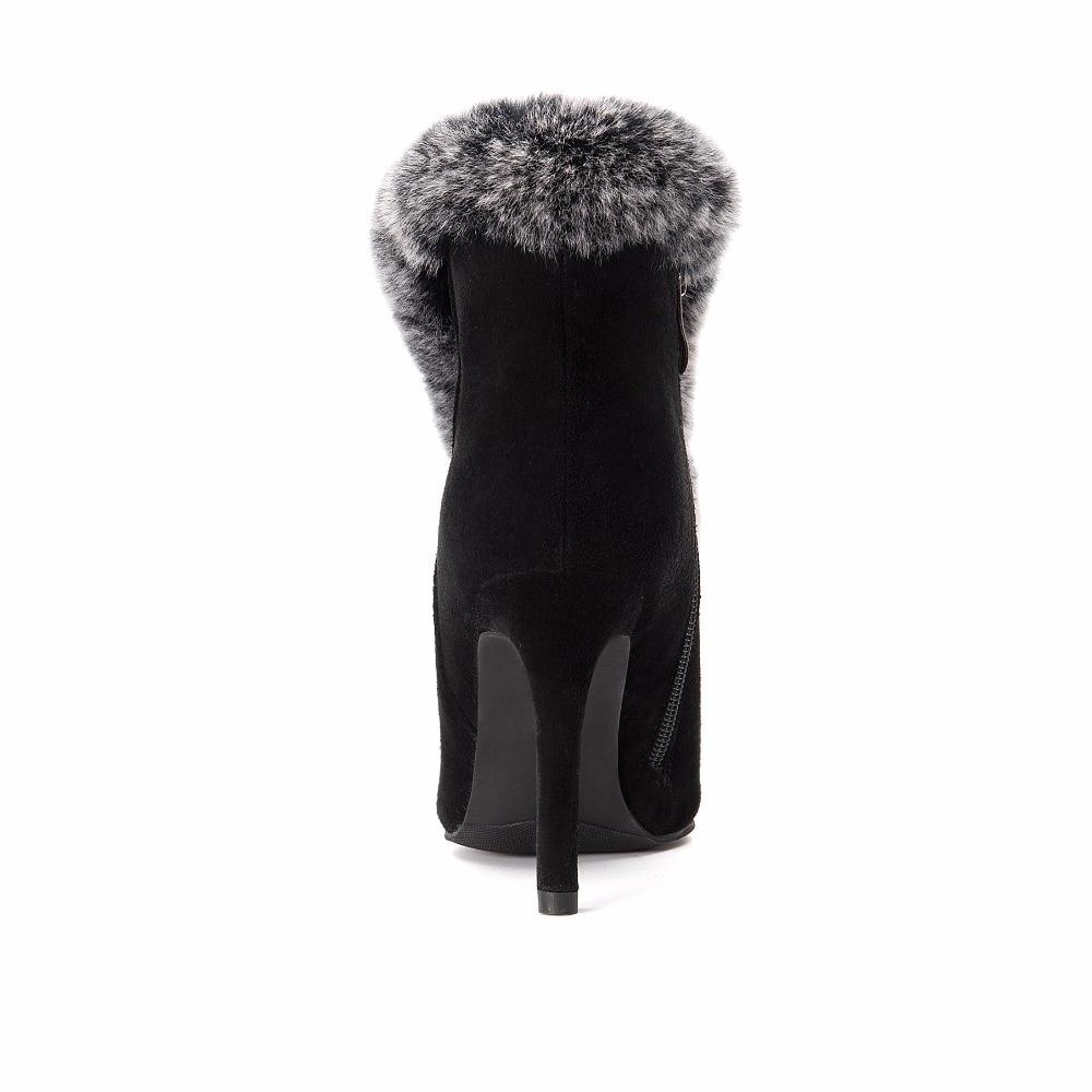 grey Negro Arden Botas Gris Altos Botines Tacones Vaca Real Nuevo Moda  Zapatos Suede Invierno Mujer Conejo ... e18c27377659