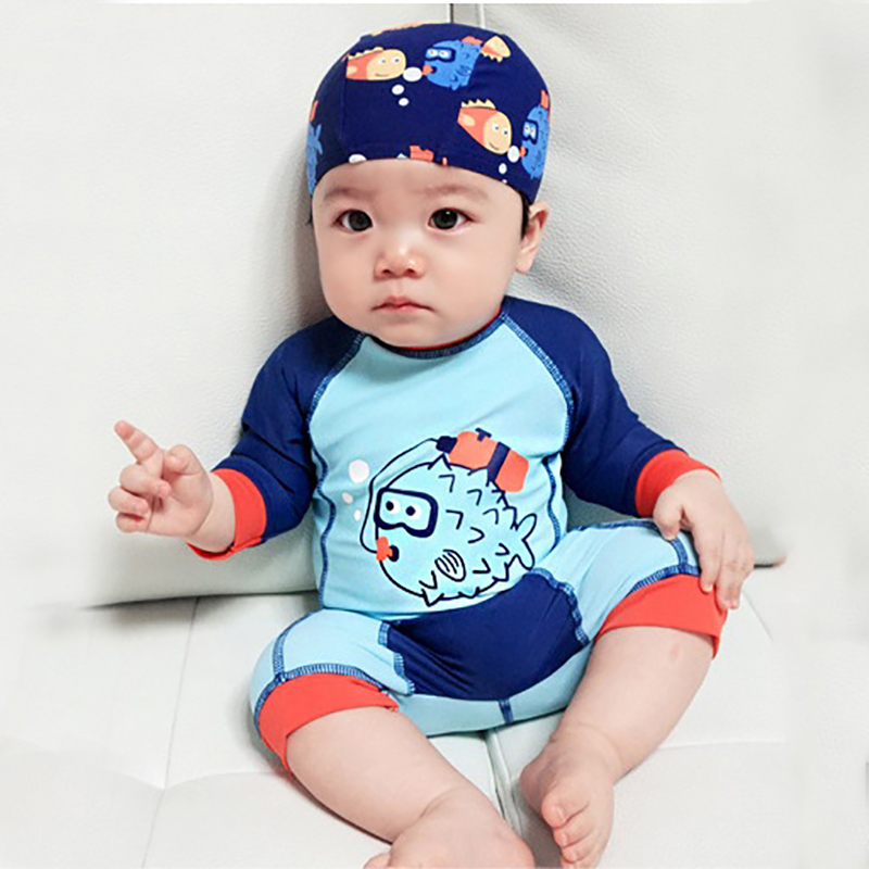 Baby Swimwear Boys 15to 24kg Beach Infant Beachwear Baby Swimsuits With Hat Cap Long Sleeve Blue 1  Piece Waterproof Swim Pants