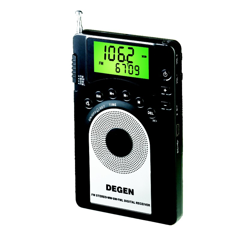 DEGEN DE15 FM Stereo MW SW FML LCD Radio World Band Receiver Alarm Quarz Clock
