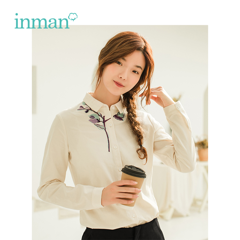 INMAN Winter Turn Down Collar Embroidery Retro Style Artistic Long Sleeve Women   Blouse     Shirt