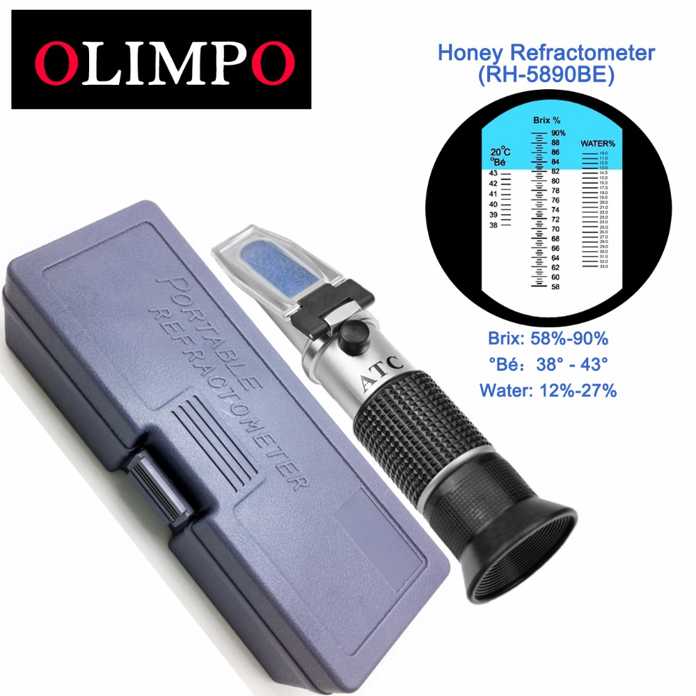 Olimpo Honey Refractometer 58-90% Brix 38-43'C Be Baume 12-27% Water 3in1 Scale Tester Beekeeper Jam Syrup Control RH-5890BE