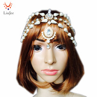 Golden Matha Patti Wedding Bridal Goddess Bohemian Boho Grecian Head Chain Hair Jewelry Piece Bollywood Wedding Imitation Pearl