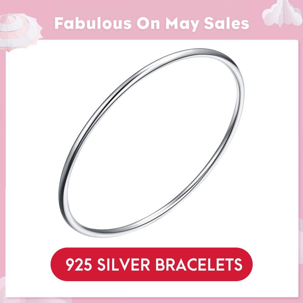 LicLiz 100% Real 925 Sterling Silver Bangle Bracelets For Women Men Fine Jewelry Silver Solid Bangles Cuff Plain Round LB0080LicLiz 100% Real 925 Sterling Silver Bangle Bracelets For Women Men Fine Jewelry Silver Solid Bangles Cuff Plain Round LB0080