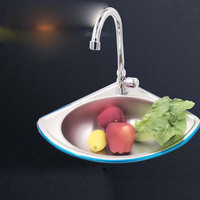 Stainless steel triangular small basin sink balcony thickening pearl sand wall wash basin small triangle toilet single bowl
