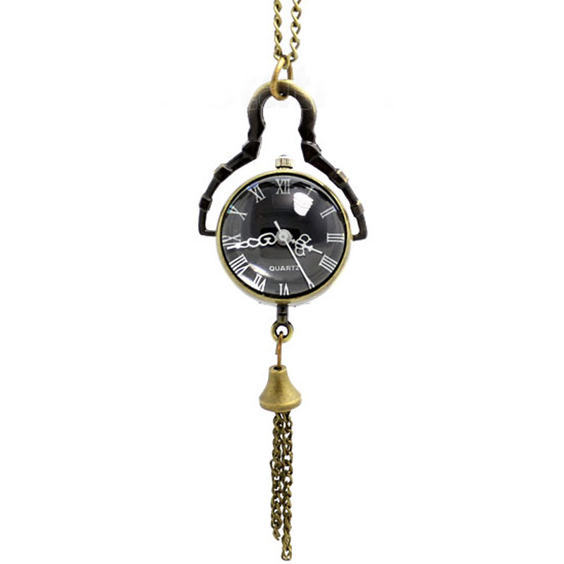 Unique Bronze Bell Shape Black Dial Glass Pendnat Pocket Watch With Long Chain Necklace For Gift