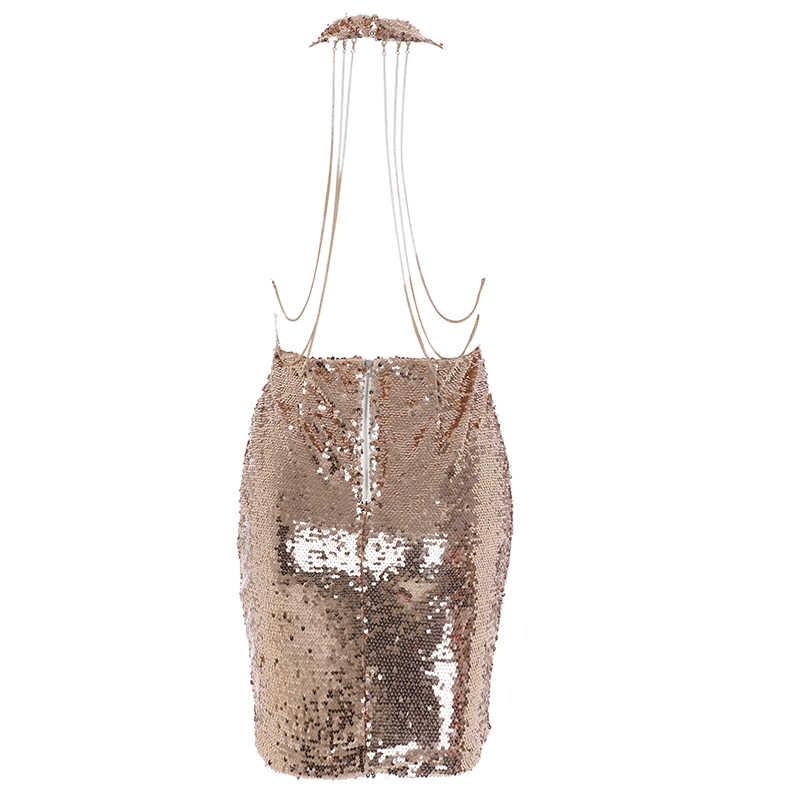 4a46368d4205b Parthea Sexy Summer Dress Backless Sequin Dress Metallic Chain Party Dress  Gold V Neck Club Mini Bodycon Dresses Vestidos 2018