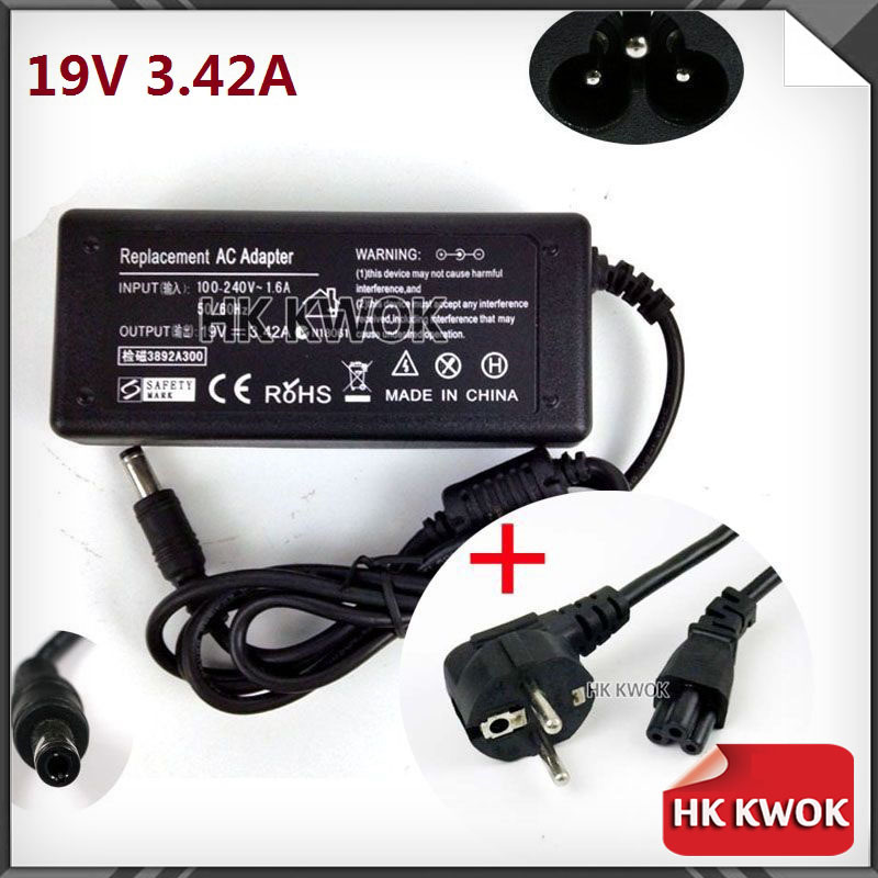EU Power Cord + 19V 3.42A 5.5 X 2.5mm N101 AC Laptop Adapter Power Supply Charger For asus/lenovo/toshiba/BenQ Notebook Changer