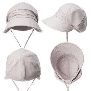 Image 4 - FANCET נשים קיץ שמש כובע מגן פשתן דלי כובעי Packable Wide ברים UPF50 + UB כובע Windproof סנטר רצועת אופנה 89033