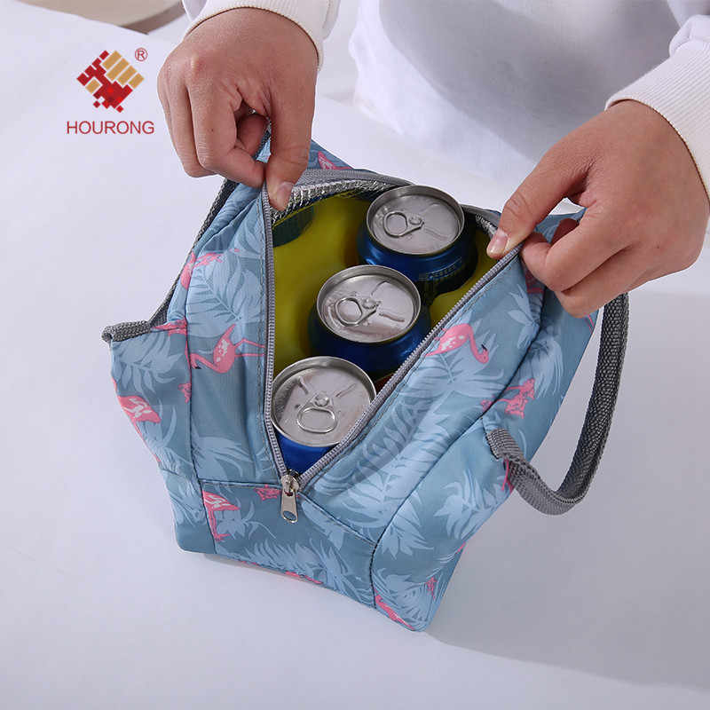 Functional Flamingo Plants Women Lunch Bags Portable Canvas Stripe Insulated Thermal Food  Case for Picnic Outdoor Activity