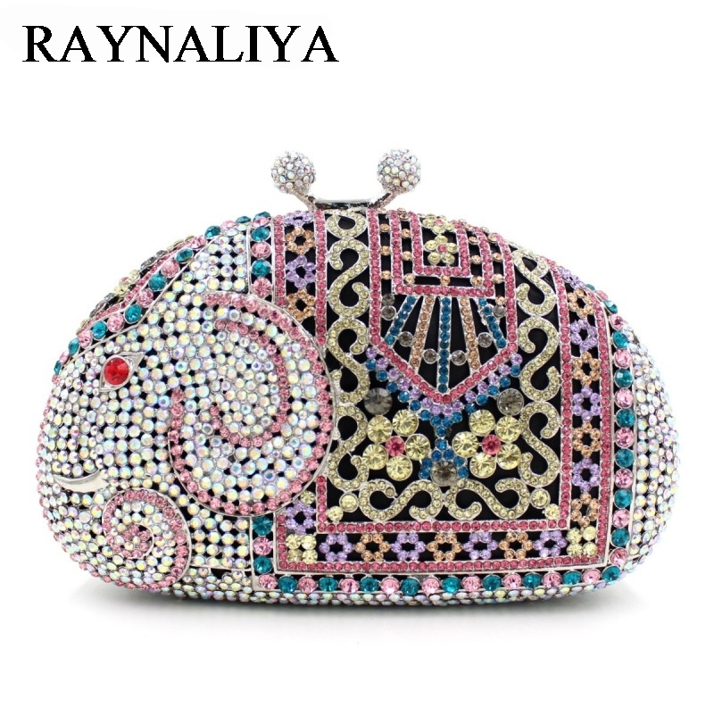 цены  Luxury Diamond Evening Bags Wedding Party Elephant Minaudiere Ladies Crystal Box Clutches Purse Women Shoulder Bag ZH-B0223
