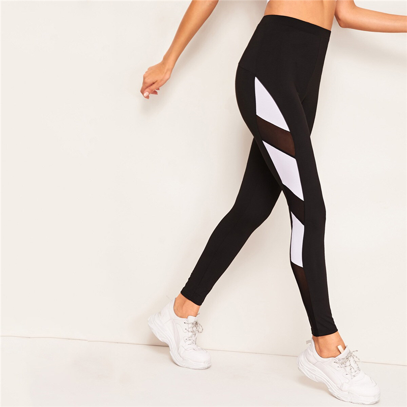 Black Contrast Mesh Color-block Legging 1