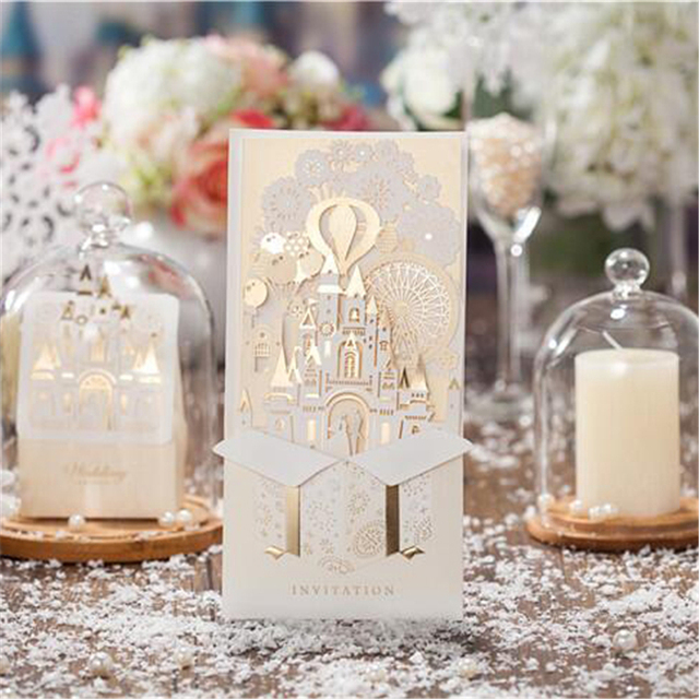 10pcs Casamento Champagne Color Castle Shape Pop Up Card Wedding Invitations Cards For