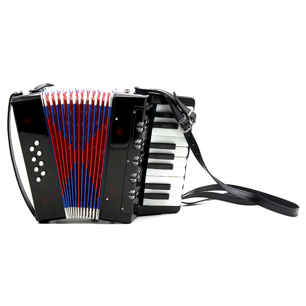 17-Key 8 Bass Mini Accordion Musical Toy for Educational Musical Instrument Simulation Learning Concertina Rhythm v neckline fur cuff sweater
