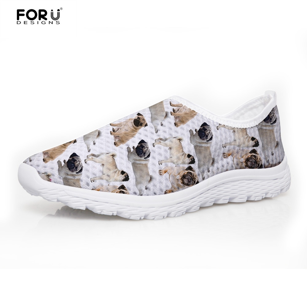FORUDESIGNS White Women Cute Pug Dog Pattern Casual Summer Sneakers Woman Beach Loafers Lover Slip-on Flats Shoes for Lady Shoes forudesigns cartoon shark print women flats shoes sneakers casual women s summer mesh shoes beach girls loafers slip on zapatos