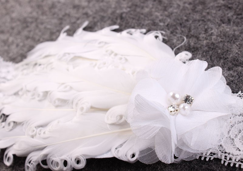 Vintage Blush Angel Wings dan White Feather Headband Lace Headband - Aksesori pakaian - Foto 3