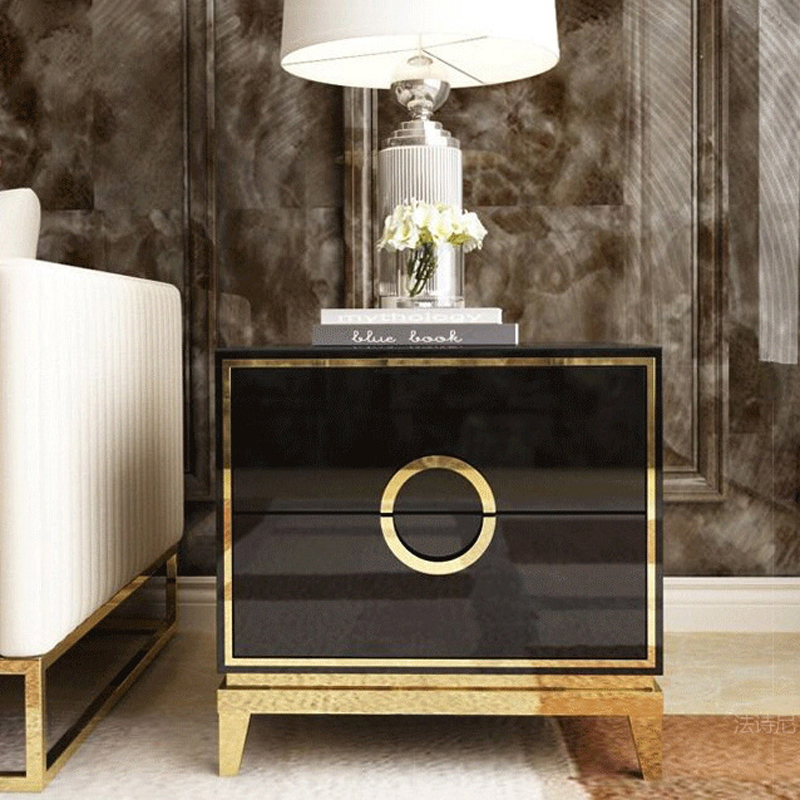 White Black Modern Iron Casting Golden Nightstand Coffee Sofa End Bedside Table Home Furniture Bedstand Cabinet Cupboard Bedroom