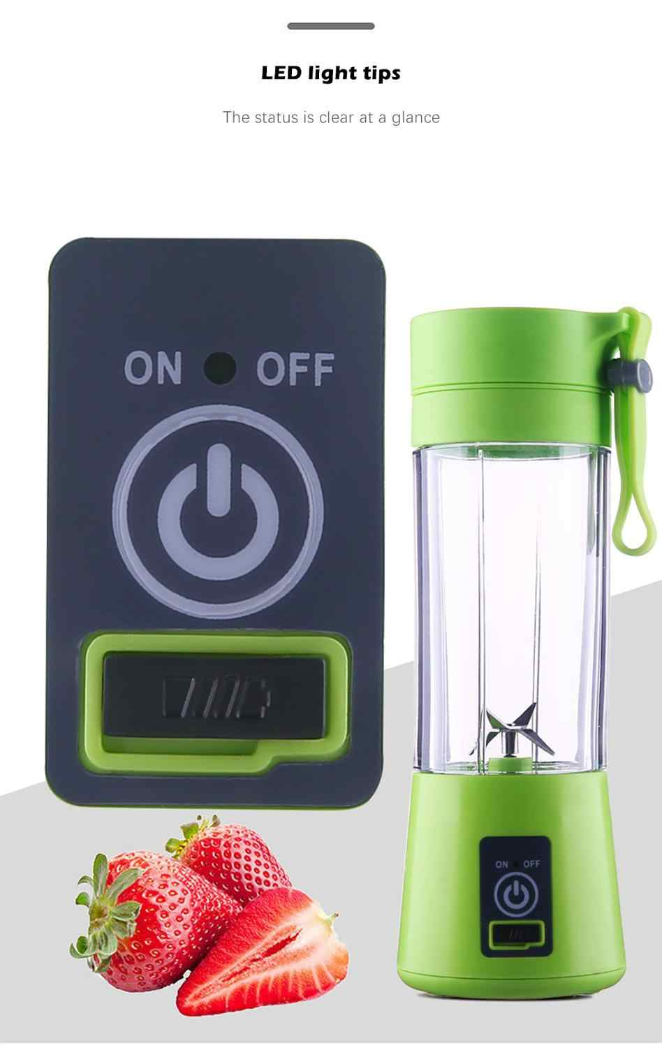 2019 Electric Fruit Juicer USB Rechargeable Smoothie Maker Blender Machine 380ml Sport Mixer Bottle Juicing Cup 2/ 4/6 Blades