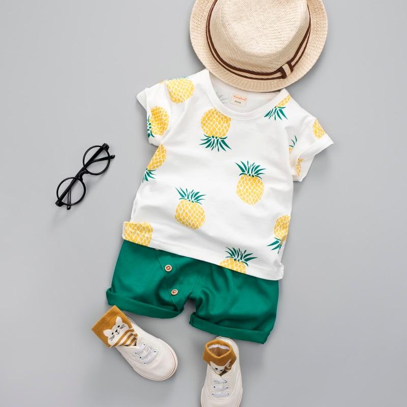 9850eede220f4 طفل الفتيان الفتيات الملابس أزياء الصيف القطن مجموعة المطبوعة الفاكهة دعوى  لصبي قميص + السراويل الأطفال