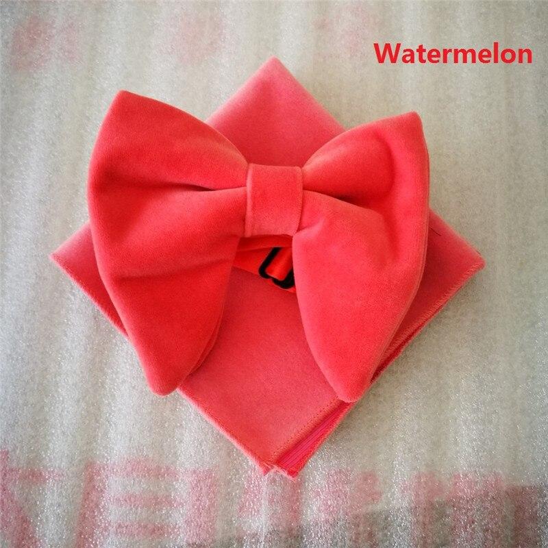 Ikepeibao Fashion Men's Watermelon Velvet Bowties Sets Matching Hanky Unique Tuxedo Bow Tie  Hanky Accessaries