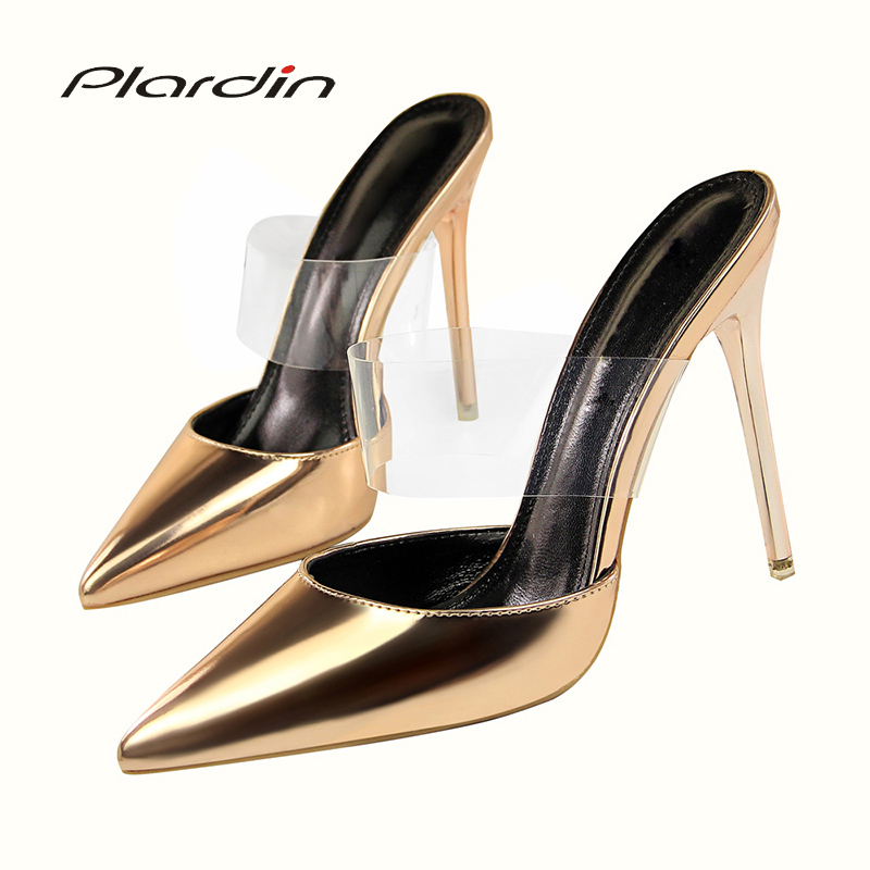 plardin 2018 women Concise Fashion Ankle Strap shoes woman pointed toe Thin Heels women's Buckle slingbacks pumps high heels long mesh sheer slip babydoll page 2
