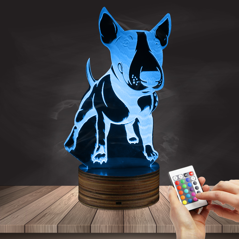 1Piece English Bull Terrier Shape Designed Lamp Pet Dog Puppy 3D Optical illusion Lamp Home Decor LED Night Light Table Lamp free shipping 1piece new arrive marvel anti hero deadpool figure light handmade 3d bulbing illusion lamp led mood light for kid