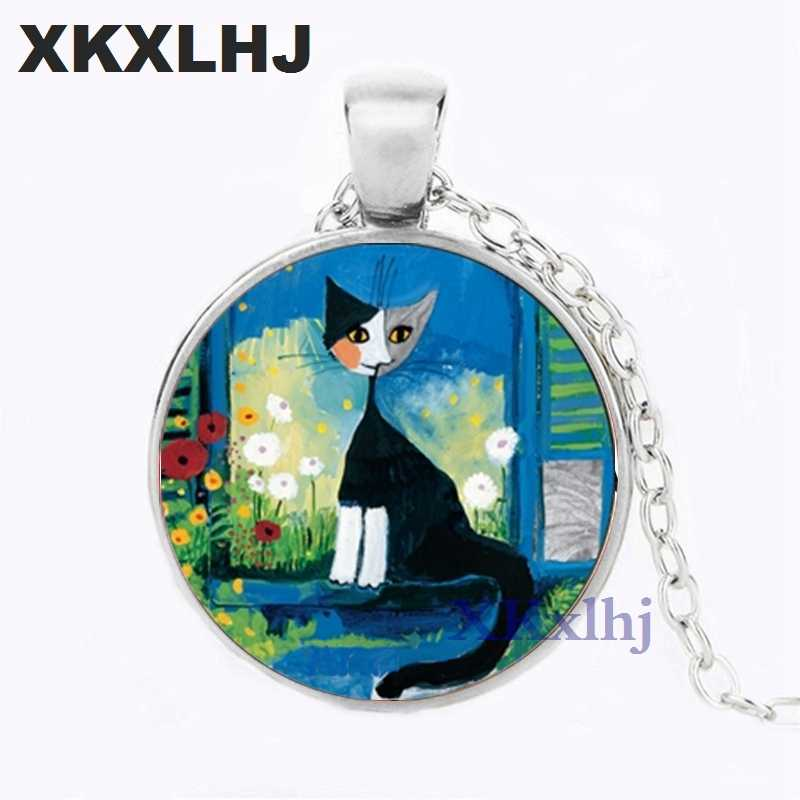 XKXLHJ collar con colgante de Rosina de cristal Wachtmeister Cats Wonderland Cats Jewelry niñas vidrio regalo cabujón collar