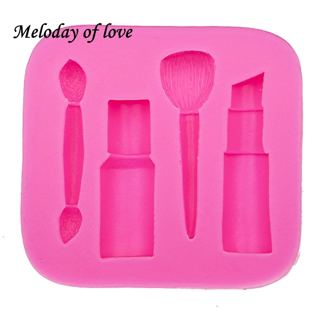 Makeup tools lipstick nail polish chocolate Party DIY fondant cake decorating tools silicone mold dessert moulds T0075 2