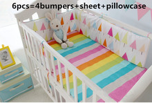 Promotion! 6PCS Rainbow Baby Bedding Set Bed Linen Baby cradle crib cot bedding set ,include(bumpers+sheet+pillow cover)