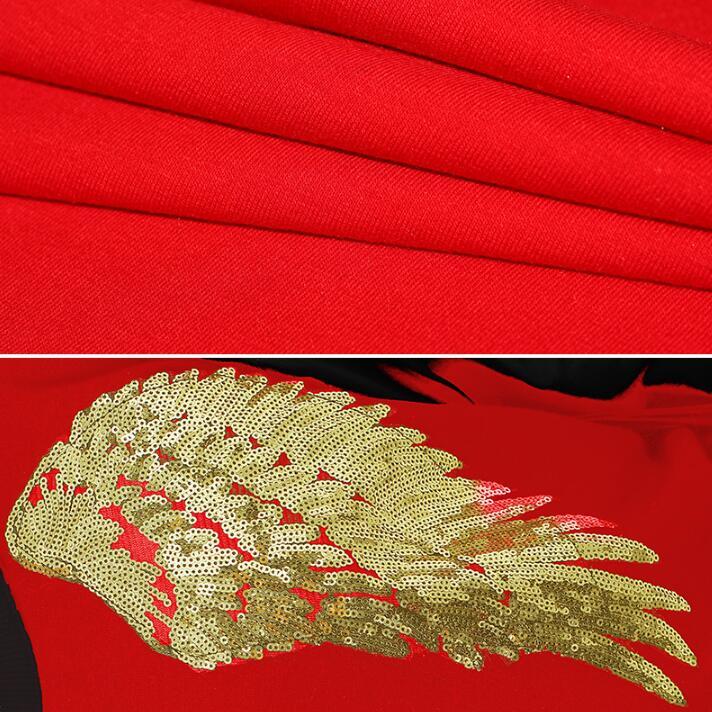 Mode punk slim sexy chemise rouge hommes à manches longues chemise adolescente coréenne hommes personnalité scène chanteur danse chemise + pantalon - 5