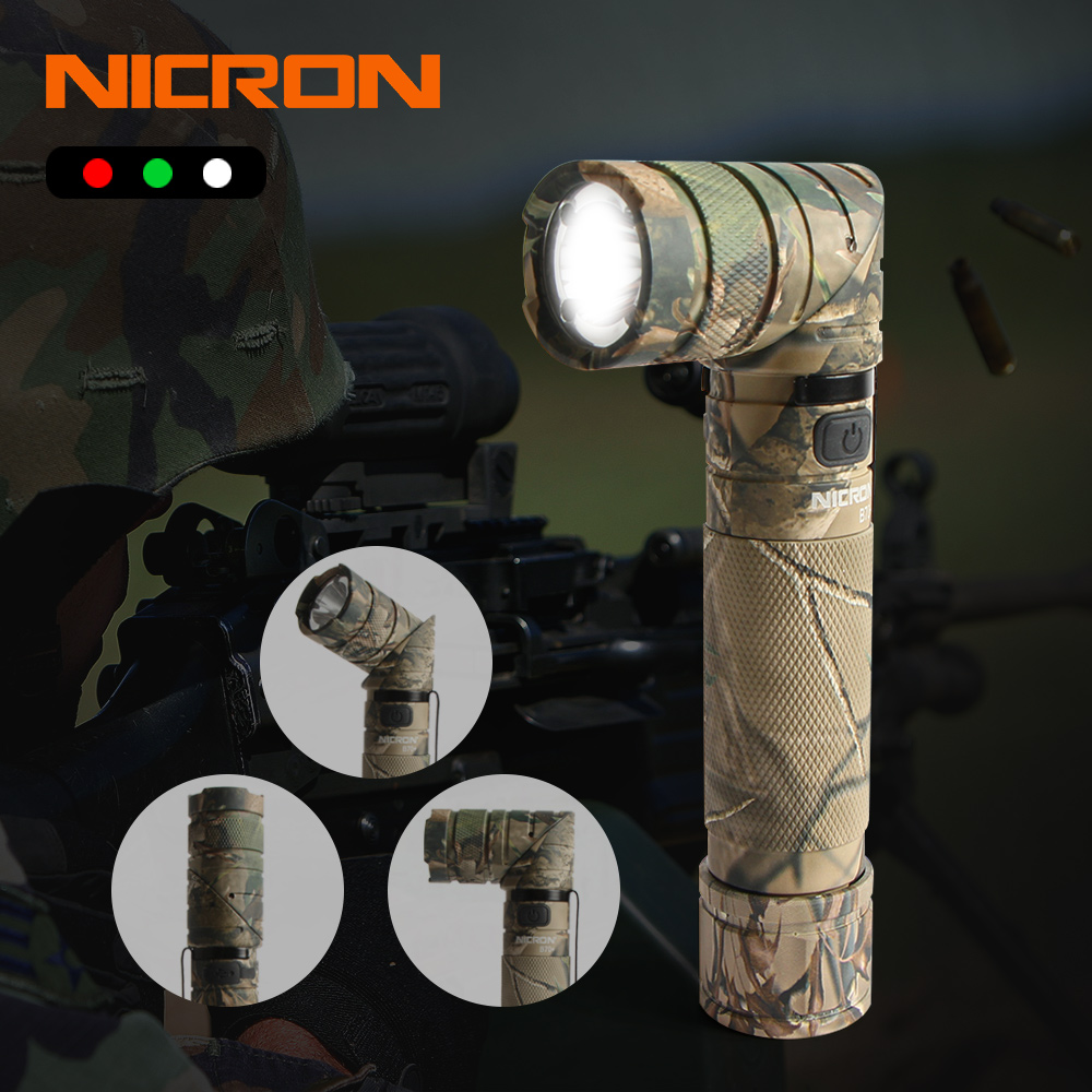 NICRON 3 Color Light 90 Degree Camo Rechargeable Twist Flashlight With 360 Rotary Clip 18650 Waterproof