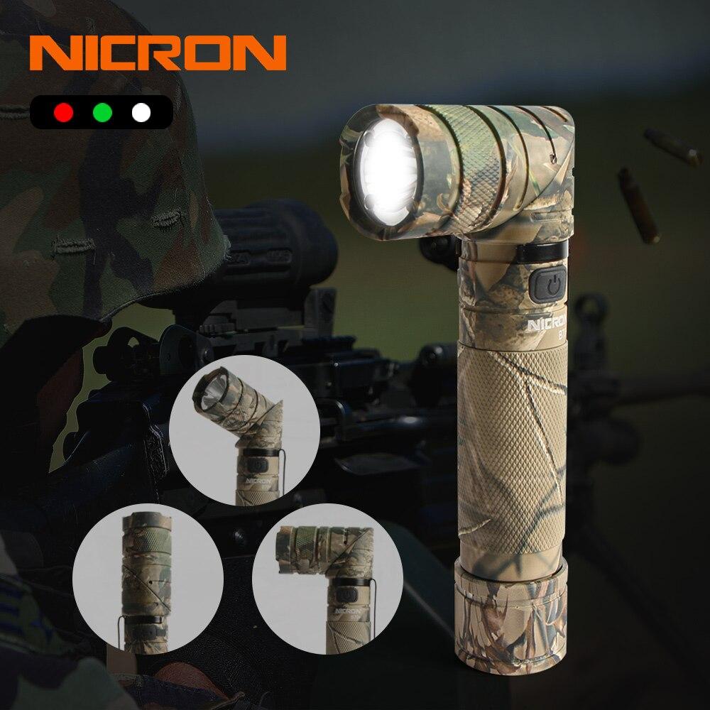 NICRON 3-Couleur Lumière 90 Degrés Camo Rechargeable faire Tourner la Lampe Avec 360 Rotatif Clip 18650 Étanche 950LM LED Torche b70 Plus