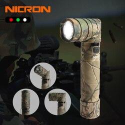 NICRON 3-luz de Color 90 grado camuflaje recargable giro linterna con 360 giratorio Clip 18650 impermeable 950LM linterna LED B70 Plus