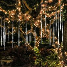 Dcoo 30cm 8 Tubes Meteor Shower Rain Lights Drop/Icicle Falling Raindrop Waterproof Lights for Wedding Xmas tree Decoration все цены