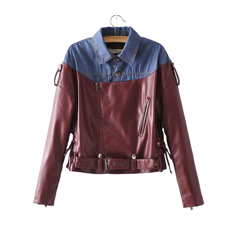 2018 auyumn jeans denim jacket women Patchwork PU leather locomotive Slim coat Diagonal zipper jacket loosen Female Outerwear