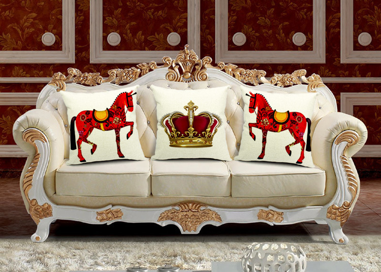 18 3pcsset european royal style crown and horse cotton linen cushion cover throw - Royal Home Decor