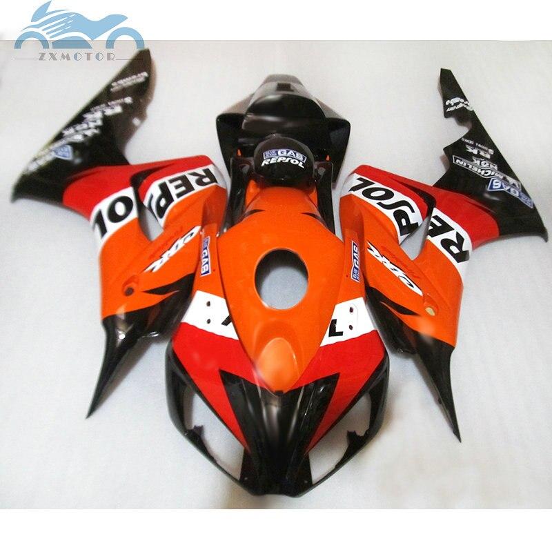 Инъекции мотоцикл Обтекатели наборы для HONDA 2006 2007 CBR 1000RR fireblade оранжевый repsol тела ремонт обтекателя CBR1000RR 06 07