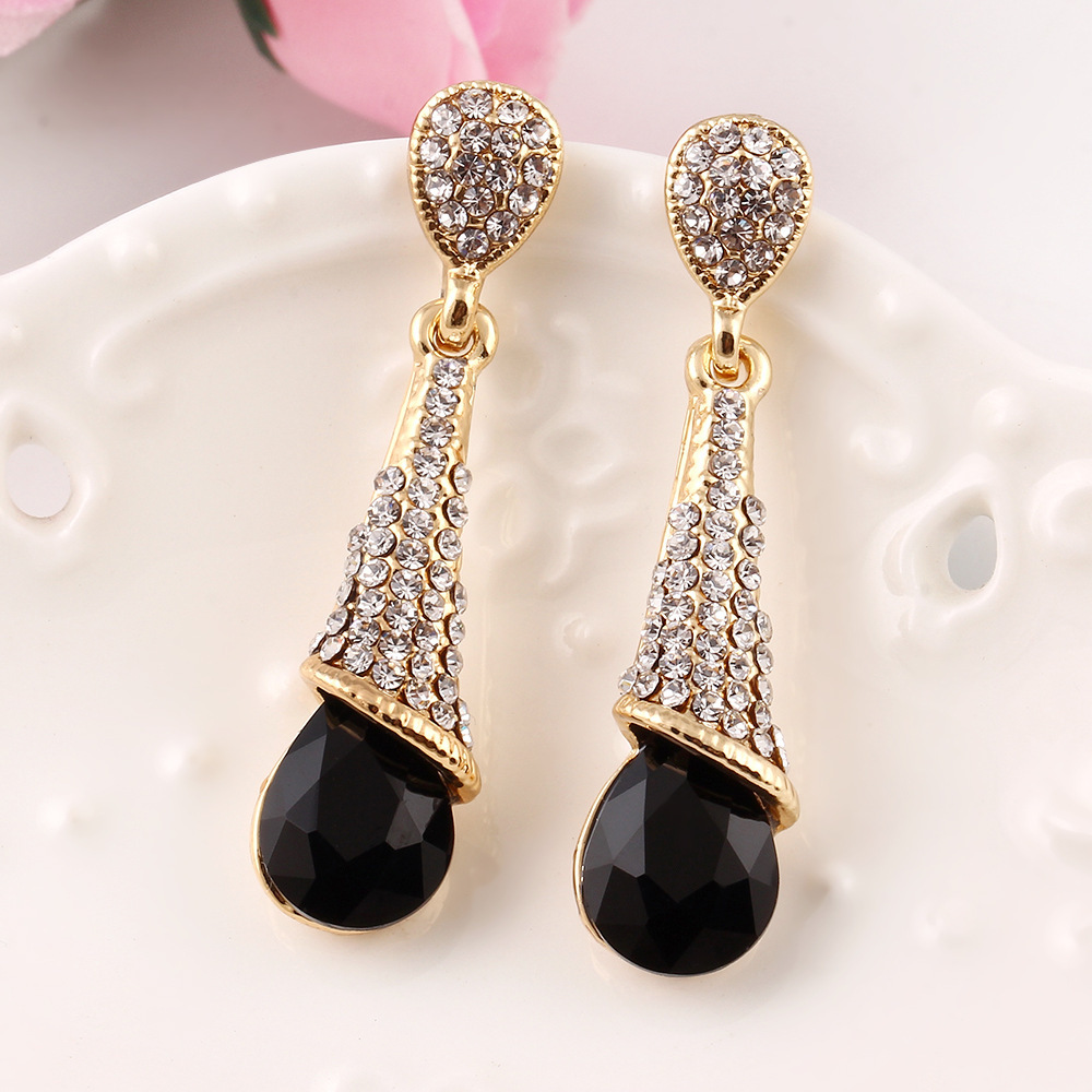 New Style Fashion Austria Crystal Earrings Gold Color Long Earring Wedding Water Drop Women Accessories In From Jewelry