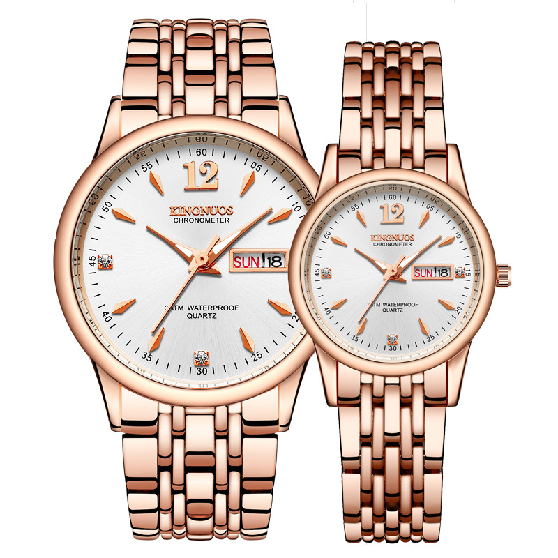 Rose Gold Couple Watch For Men Women Lovers Watches Luxury Gift Stainless Steel Quartz Watch Ladies Wrist Watch Clock