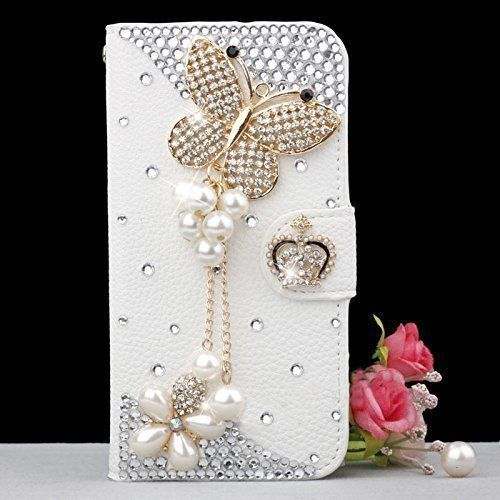 Gorgeous Butterfly Bling Crystal Rhinesote White PU Leather Case for ZTE Blade GF3 T320