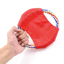 Fashion Dog Toy Trainning Puppy Cotton Rope Canvas Fetch Flying Disc Pet Supplies Accessories
