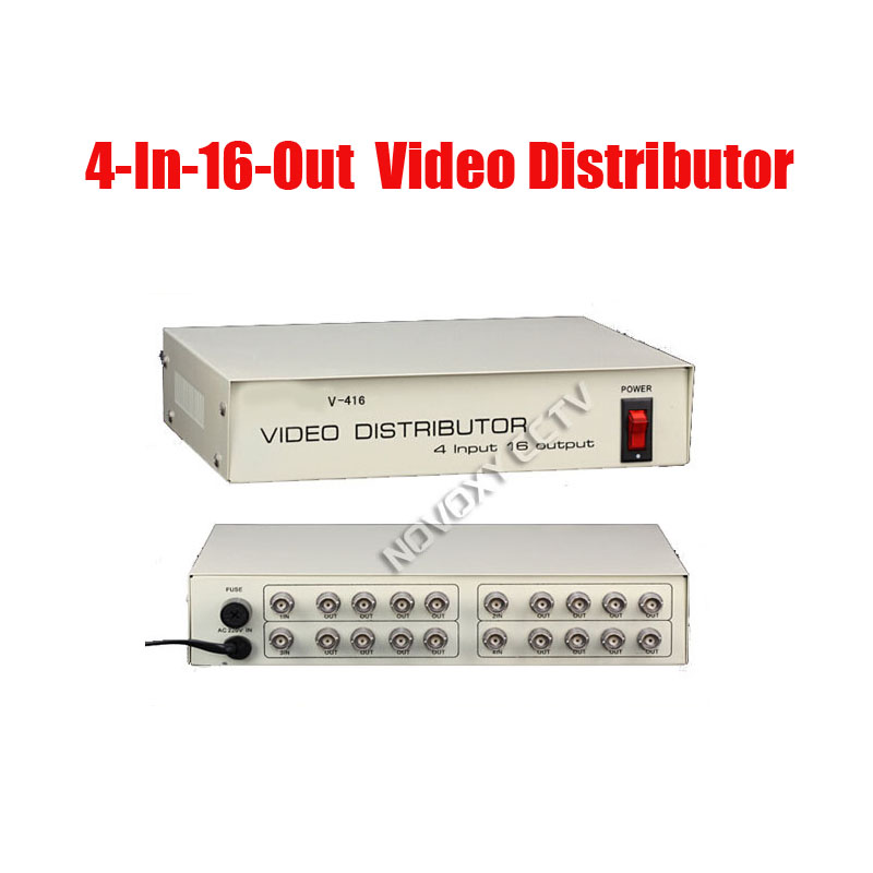 Free Shipping 4 In 16 Out Composite BNC Video Distributor Amplifier 4CH To 16CH Splitter For CCTV Security Camera DVR System bnc video distributor 16 in 64 out composite amplifier 16ch to 64ch splitter for cctv security camera dvr system