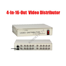 Free Shipping 4 In 16 Out Composite BNC Video Distributor Amplifier 4CH To 16CH Splitter For CCTV Security Camera DVR System
